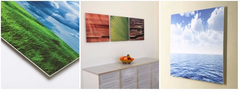 Aluminum prints created by printing and mounting to raw aluminum.