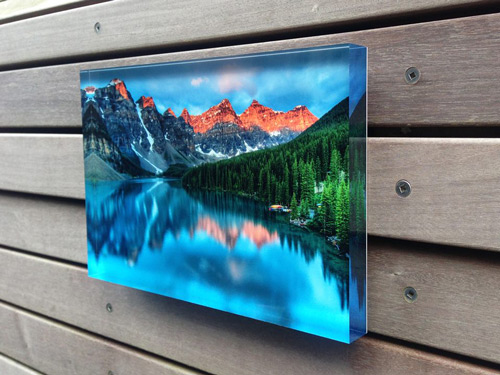 Custom acrylic prints blocks photos on wood metal for Acrylic glass block
